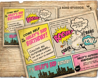 Superhero Invitation / comic book Superhero birthday invitation - DIY girl superhero party