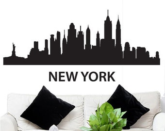 """Wall Decal Sticker New York Skyline 22.5"""" Tall 48"""" Wide in White or Black"""