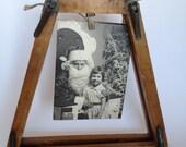 Wood Tennis Bracket Spring Expansion Industrial Picture Frame Vintage Altered Art Supply Destash
