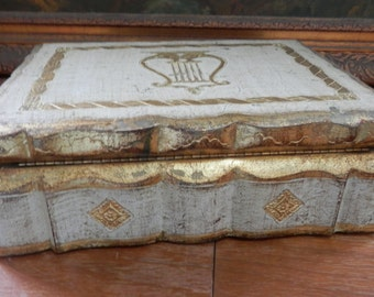 GORGEOUS Large Old Italian Florentine Wood Box,Gold Gilt,Mirror,Harp,Jewelry Box Stunning!