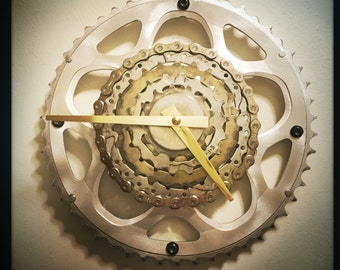 Cycling Clock, Mountain Biker Gift, Cycling Gift, Bicycle Gift For Her, Steampunk Wall Clock, Mid Century Modern, Wall Clock