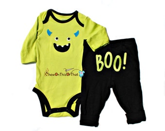 Monster Incorporated Mike Inspired Monster Costume - Green Onesie and Pant Set, Baby First Halloween Bodysuit, Top, Outfit,Embroidered