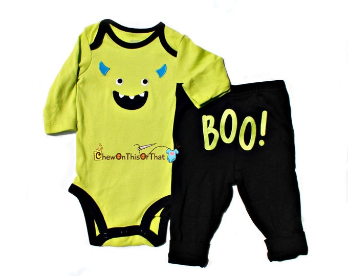 Featured listing image: Mike Inspired Monster Costume from Monster Inc.- Green Onesie and Pant Set, Baby First Halloween Bodysuit, Top, Outfit