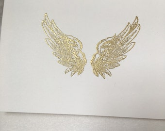 Embossed Gold angel wings- Embossed angel wings blank notecards
