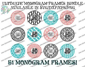 Digital Cut Files, Ultimate Monogram Frames Bundle, 51 Frames, SVG, DXF, EPS, Circle Monogram, Vine, Vector, Vinyl, Silhouette, Cricut