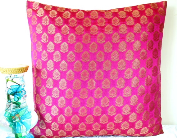 Brocade Pillow Covers Pink & Gold Throw Pillow Cover Dark Pink