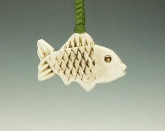 Raku Fish Ornament.  Brown and Cream.  Ready to ship.