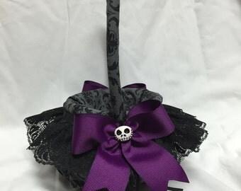 Nightmare Damask custom Flower Girl Basket