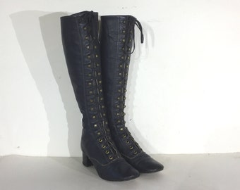 vintage go go boots - 1960s navy blue leather lace up go go boots - size 5 - 60s mod boots - 1960s boots - gogo boots - 1960s lace-up boots