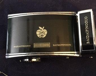Vintage Baidaipinggou designer chrome belt buckle...FREE shipping!!!