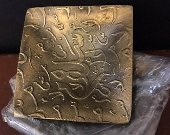 Vintage solid hammered brass plates from Lebanon...FREE shipping.