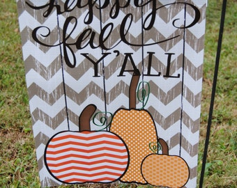 Personalized Monogrammed Garden Flag Happy Fall Y'all Great for Fall Decorations October Pumpkin Patch