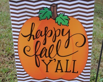 Personalized Monogrammed Garden Flag Happy Fall Y'all Pumpkin for Fall Decorations October Pumpkin Patch