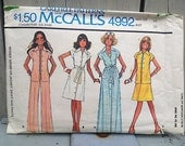 Vintage pattern | Vintage 70s dress pattern groovy tunic bell bottoms skirt and dress McCalls 4992