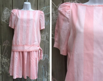 Vintage dress | Cute girly unique 80s Jerri Jee striped pastel pink dress set matching blouse and skirt