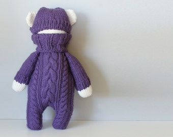 "DIY Knitting PATTERN - Cable Knit Teddy Bear Stuffie Size: 18"" tall (2015021)"