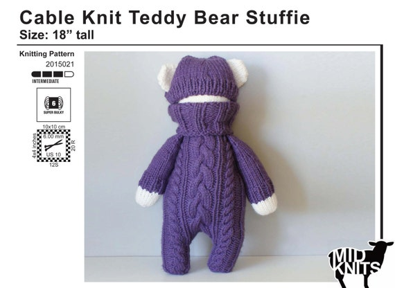 Knitting Inspirations Perth : Diy knitting pattern cable knit teddy bear stuffie size