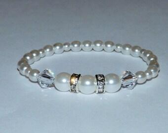 Bridal Baby Jewelry Swarovski Pearl Bridal Wedding Bracelet Christening Jewelry Baby Toddler Kids Wedding