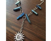 Moon & Sun Charm Necklae - Aura Quartz Crystal, Silver Chain, Hand Wrapped - The Galactic Collection