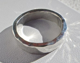 Thick Sterling Silver Hammered Ring