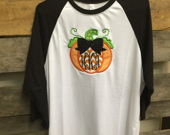 Raglan Pumpkin 3/4 Length Sleeve Shirt with Monogram!