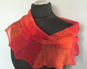 Linen Scarf Orange Red Infinity Scarf Cowl Wrap