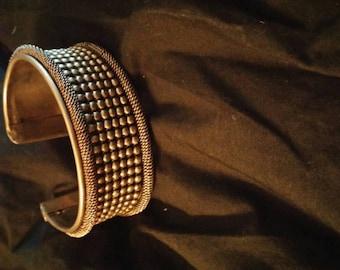 Vintage Gypsy, Boho silver tone Cuff Made in India