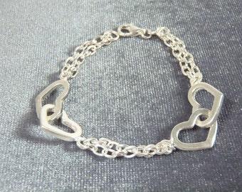 Sterling Silver Double Heart Link Bracelet B41
