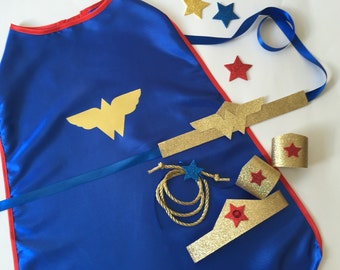 WONDERWOMAN Costume, Vinyl Wonder Woman Costume Accessories, Superhero Gift, WonderWoman Tiara, Belt, Wrist Cu