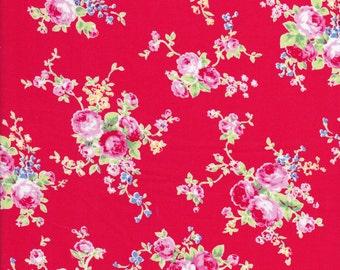 Rose Fabric - Lecien Flower Sugar - Lecien Fabric - Red Fabric