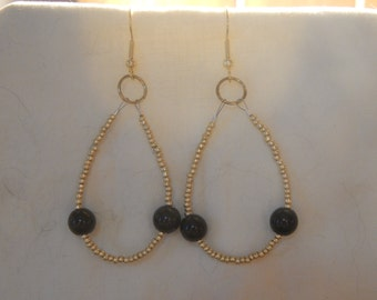 Gold and Black Beaded Hoop Earrings