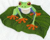 Rainforest Tree Frog Embroidered Decorative Absorbent White Cotton Flour Sack Towel, Linen Towel, Waffle Towel, Hand Towel