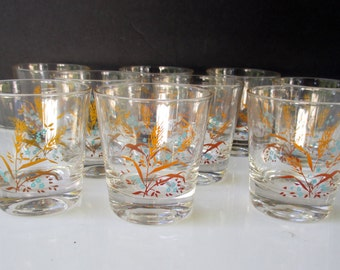Aqua Floral Brown Wheat Rocks Lo Ball Old Fashioned Glasses - Set of 5 and Set of 4