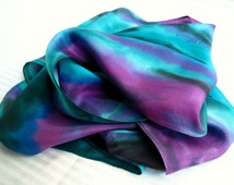 Teal Green, Purple Orchid, and Charcoal Black Hand Dyed Silk Scarf. Habotai Silk Scarf. Plum, Jade, Gray. 11x60 inch Abstract Silk Scarf.