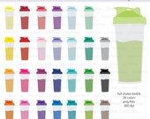 Full Shaker Bottle - Protein Shake with Shake - Smoothie Bottle Icon Digital Clipart in Rainbow Colors - Instant download PNG files