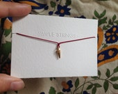 Tiny Gold Pendulum on Red Silk Necklace