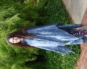 Ethnic Tribal Poncho,Blue Women's Poncho,Upcycled Knit Shawl,Bohemian Hippie Wrap,Fringe Festival Cape,Boho Gypsy Outerwear,Sweater Cloak
