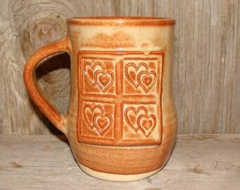 Rustic Brown Heart Mug