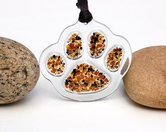 Fused Glass Paw Print Ornament, Fused Glass Paw Print Suncatcher