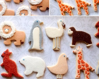 Animal Cookies - One Dozen  Decorated Sugar Cookies perfect for birthdays