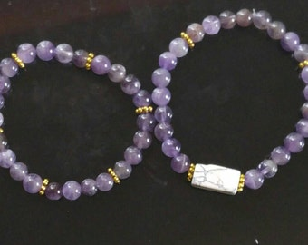 2pc Purple and gold bracelet set w/ white marble gemstone