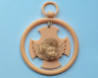 Antique French, Crib Protector, Baptism pendant, Crucifix, Art Nouveau, Celluloid, Angel, Cherub