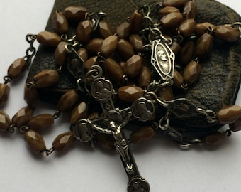 Beautiful antique brown faceted glass rosary with medals from France with original pouch