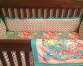 MADE TO ORDER Garden Floral and Metallic Gold Baby Nursery Bedding Set Coral Peach Teal