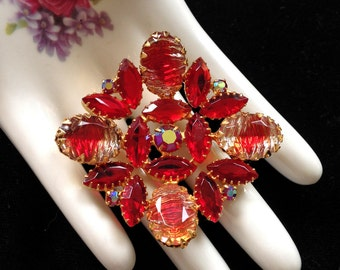 Juliana Jewelry Red Rhinestone Brooch Vintage