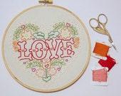 LOVE Scandinavian style embroidery valentine hoop art floral art hoop art valentine gift