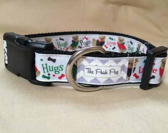 "Handmade Pugs Love Hugs 1"" Adjustable Dog Collar - LARGE in BROWN"