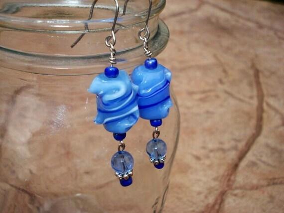 Lampwork Earrings, Blue Glass Earrings, Dangle Drop Bead Earrings, Lampwork Jewelry, Boho Hippie Bohemian Earrings, One Of A Kind, OOAK