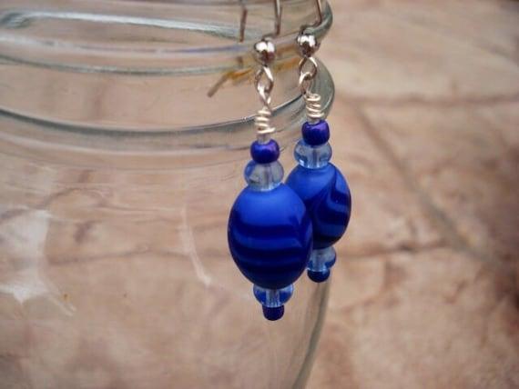 Blue Glass Earrings, Sterlings Silver Earrings, Dangle Earrings, Drop Earrings, Beaded Earrings, Modern Earrings, OOAK, One Of A Kind