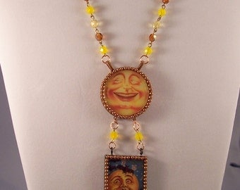 Vintage Style Halloween Necklace - Vintage Man-In-The-Moon Prints